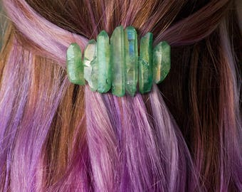 Crystal Barrette / Gift for Her / Bridal Hair Piece / Mermaid Crown / Quartz Hair Jewelry / Crystal Hair Clip / Bridal Crystal Crown /