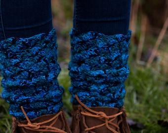 Blue Cosmos Crochet Legwarmers