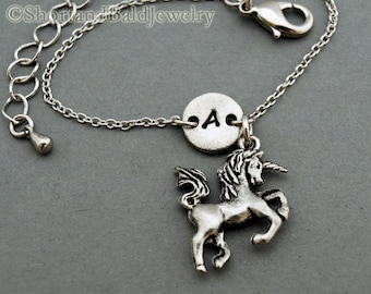 Unicorn charm bracelet, antique silver, initial bracelet, friendship, mothers, adjustable, monogram