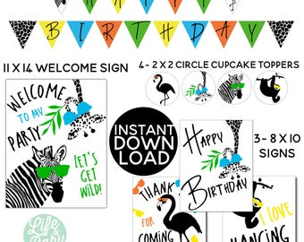 INSTANT DOWNLOAD - Zoo Party Pack - Party Animal Invitation Coordinating Party Printables - Zoo Banner - Printable Zoo Party