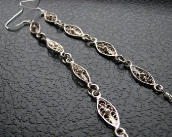 Sterling silver earrings | long dangle | oval | filigree | elegant | duster | final sale