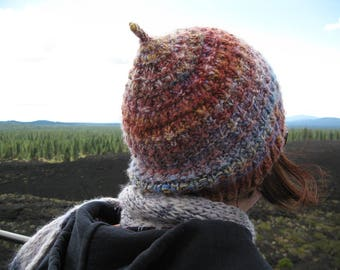 PDF Knitting Pattern - Pinecone Hat - beanie pattern, acorn hat, handspun yarn knitting pattern, bulky yarn, kids hat pattern, adult hat