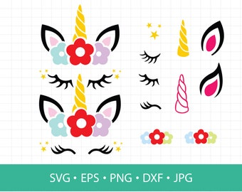 Unicorn SVG, Unicorn head Svg,Unicorn Clip Art, Unicorn Face SVG, Magical Unicorn SVG, Cricut, Silhouette Cut File, Svg dxf eps