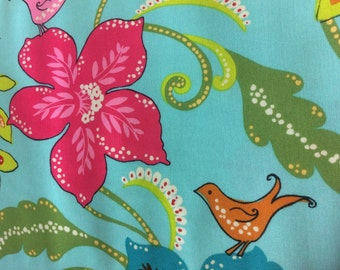 Floral Tropical Turquoise Fabric - 100% Cotton Quilting Apparel Crafts Home decor