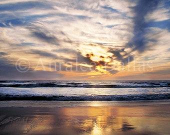 Beach Photograph Ocean Photograph Sunset Photograph Coastal Wall Decor