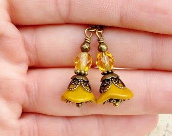 Yellow Earrings, Yellow Flower Earrings, Mustard Yellow Earrings, Victorian Earrings, Czech Glass Beads, Victorian Flower Earrings, Gifts