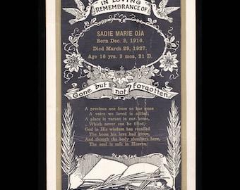 Antique Vintage 1920s Death Mourning Cabinet Card Photo