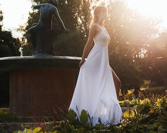 Beach Wedding Dress - Lace WeddIng Dress - Boho Wedding Dress - Backless Wedding Dress - Bohemian Wedding Dress - Chiffon Wedding Dress
