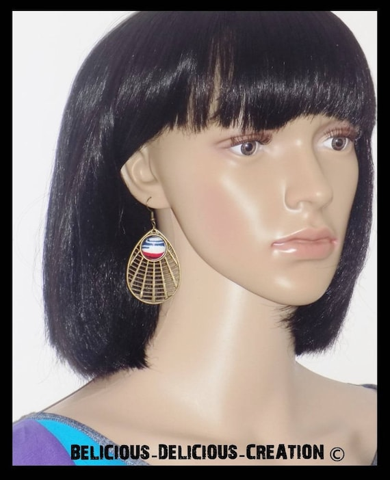 Original earrings! WAX! bronze Metal and fabric T 7 cm belicious delicious creation