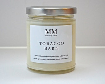 TOBACCO BARN // 9oz // natural soy candle // hand-poured // small batch