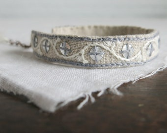 Sequin Bracelet, Embroidered Bracelet, Textile Art Cuff, Silver Sequin Bracelet, Mother's Day Gift, Natural Linen Bracelet, Boho Bracelet