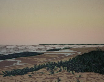 Low Tide  Woodblock print