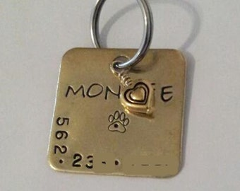 Big SQ Brass Dog ID tag