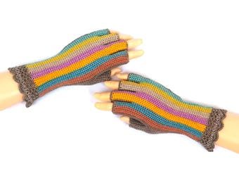 Pink Blue Yellow Beige Half Finger Gloves Rainbow Fingerless Gloves Hand Warmers Wrist Warmers Arm Warmers Texting Gloves Driving Gloves