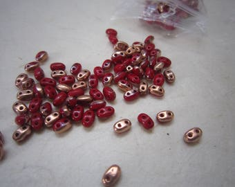 Lot (15g) of super duo red Burgundy and copper - 2.5 x 5 mm