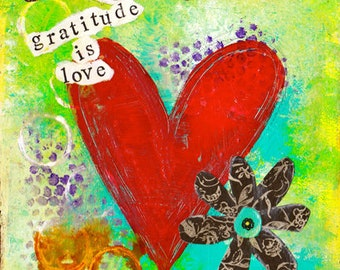 "Gratitude is Love 8""x8"" Mixed Media Original Art on Cradled Panel, Gratitude Art, Home Decor, Love, Hearts, Grateful, Thanksgiving"