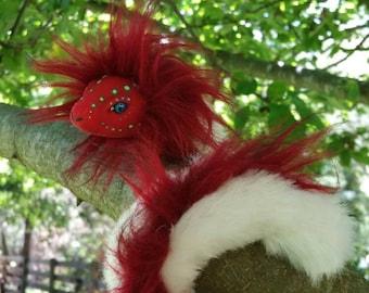 Scarlett the Snake, Artdoll Handmade, Posable, Fur, Animal, Red Art Doll, White, Hand painted, Gift.