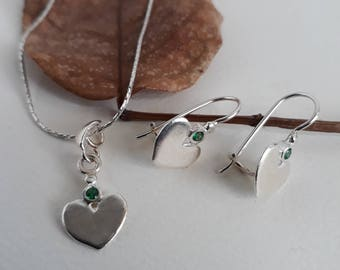 Valentine's day sale, Silver jewelry set, Heart jewelry, Jewelry set, Silver heart earrings, Silver heart necklace, Birthday gift, Love gift