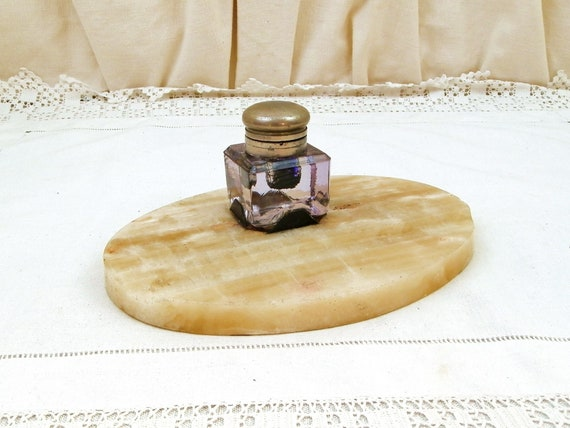 Antique French Art Deco Onyx Agate Desk Tidy With Crystal Glass and Pewter Ink Well, Pale Veined Stone Fountain Pen Rest from France