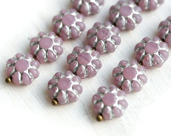 Lilac Flower beads czech glass flat daisy light violet with Silver inlays - 9mm - 20Pc - 0719