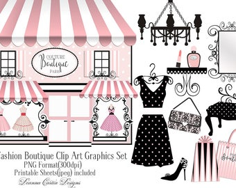 Boutique clip art, paris clip art, dress clip art, card making kit, paris clip art, fashion clip art, shabby chic clipart, paris invitation