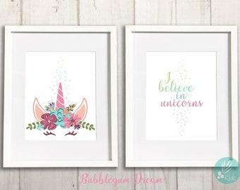 I Believe in Unicorns, Print Set of 2, Large Wall Art, Unicorn Nursery Print, Unicorn Room Decor, Unicorn Bedroom Decor, Girls Room Decor