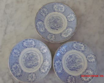 Antique English Ridgways Oriental  Blue Transfer Ware Plates Saucers