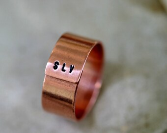 Copper Ring Mens or Womens Monogram Band (E0181)