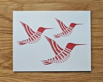 Red Hummingbird Friends Notecard