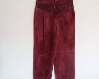 Bordo Suede Leather Womens Pants Small to Medium Size