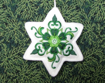 CHRISTMAS ORNAMENT, embroidered ornament, decoration, tree ornament,star
