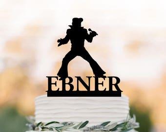 Elvis Wedding Cake topper name, birthday Cake Toppers , elvis presley silhouette, cake toppers