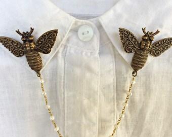 moth pearl collar pins, bee collar pins, sweater pins, collar chain, collar brooch, lapel pin, bee pin, pearl brooch, bee brooch
