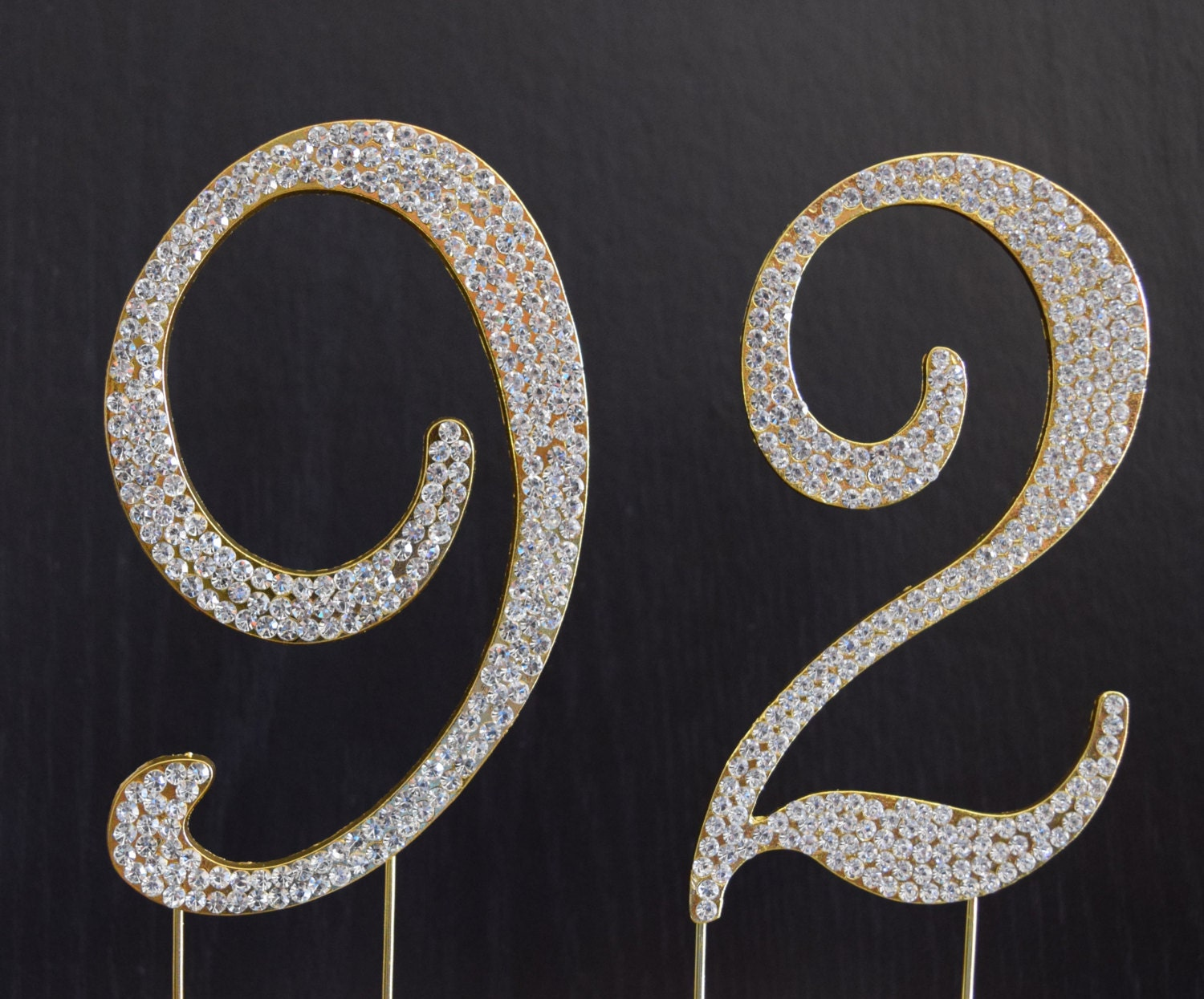 Rhinestone Gold Number 92 Cake Topper 92nd Birthday Party