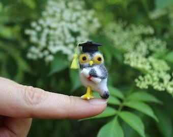 Little birds Dollhouse 1 12 scale Tiny Birds Needle Felted Owl Felted Bird Felt Owl Fairy Owl Miniature Owls Miniature Owl Tiny Needle Felt