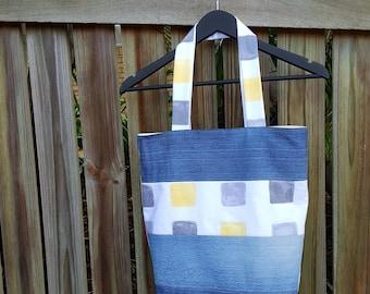 Recycled Denim Bag, Yellow Grey Cubes, Fully Lined, Denim Tote Bag, Ecofriendly, Handmade, Repurposed Denim Bag, Weekend Bag