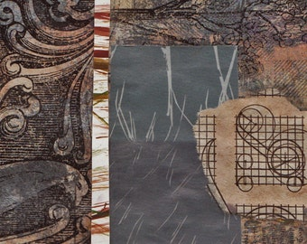 """Human Nature - Original Collage with Weathered and Hand Drawn and Painted Papers 4 x 4 on 5 x 5"""" Backing"""