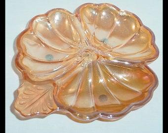 Jeannette Glass Iridescent Marigold Clover Carnival Glass Dish