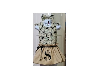Money Bag Halloween Costume - Girl Halloween Costume - Cash Costume - Baby Girl Halloween Costume - Money Bag - Money Dress - Dollar Sign