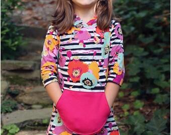 Delaney Dress & Tunic PDF Sewing Pattern: Girls tunic pattern, girls dress pattern, girls hoodie pattern