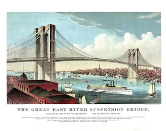 The great East River suspension bridge: connecting Manhattan New York and Brooklyn, looking west 1883.  NY0036 Vintage Poster Print Map