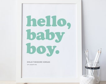 Personalised modern baby print for a boy, bold colourful colorful wall art print, gift for birth, adoption, christening, baptism