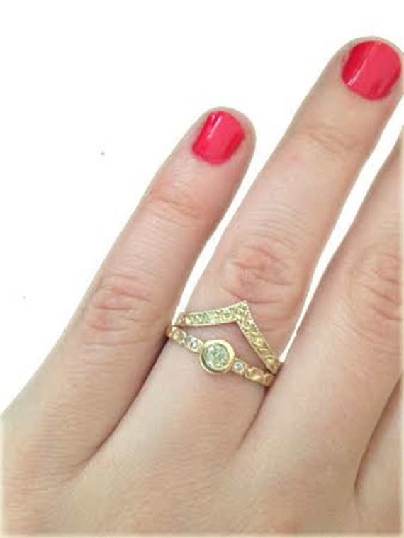 Stackable Wedding Band Stacking Rings V Shaped Band Curved