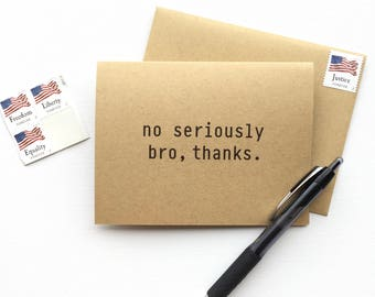 The Bro 'Serious' Thank You Card - 10 note cards