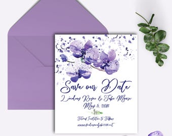 Save the Date, Purple Orchids