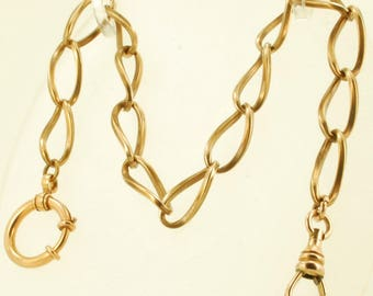 "Vintage 12.5"" yellow gold (filled) fancy large oval link straight-style pocket watch chain with a spring ring finding"