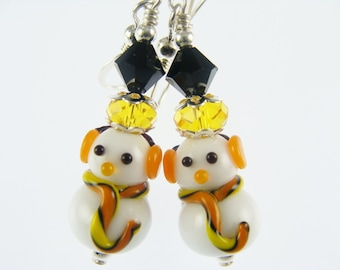 Snowman Earrings, Christmas Earrings, Lampwork Earrings, Glass Bead Earrings, White Dangle Earrings, Lampwork Jewelry, Holiday Earrings