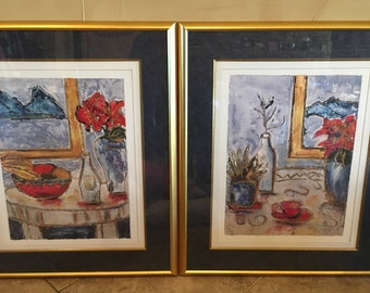 2 Framed Wall Art Pictur COOMBS Antique GOLD Hangar Mounted