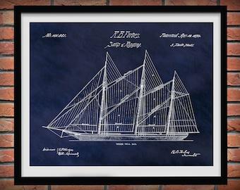 1870 Sailboat Sails and Rigging Patent Print - Poster - Boat - Ship - Nautical Wall Art - Marina Wall Art - Sailor Wall Art