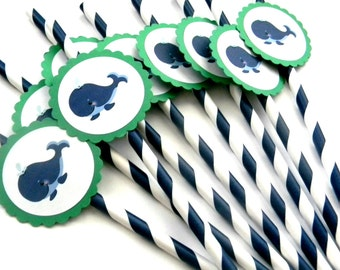 12 Whale Party Straws, Nautical Birthday, Whale Theme, First Birthday, Whale Baby Shower, Navy Whale, Whale of a Time, Whale Party, Nautical